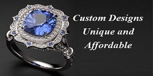 Our custom designs are available in most all metals and gems including Lab Grown Diamonds to fit any budget